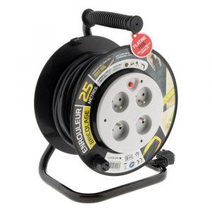 Zenitech Enrouleur Bricolage 4 prises 16A 2P+T - Câble HO5VV-F 3G1,5mm² 25m - Platine fixe avec guide câble