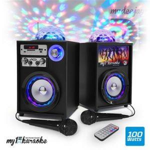 My deejay Kit Karaoke autonome - Enceintes LED 100W - USB/SD/BT/FM + 2 Micros - MyDJ My1StKaraoke-V4