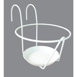LG Porte pot avec soucoupe en métal blanc Ø 25 cm