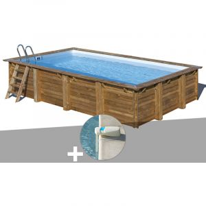 Sunbay Kit piscine bois Evora 6,00 x 4,00 x 1,33 m + Alarme