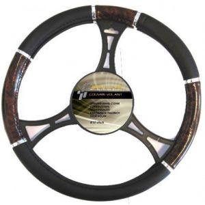 Couvre volant PVC noir imitation bois 37/39cm