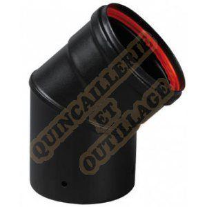 Ten Coude émail 45° noir mat Ø80 + joint -