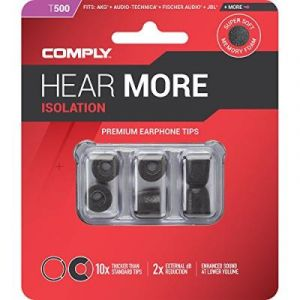 Comply T-500 Series - Embouts d'écouteurs en mousse 3 paires Medium (3 Paires) Noir Isolation (HiFi Headphones, neuf)