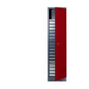 Kupper Déstock %u2013 Armoire 1 porte et 1 étagère et 18 tiroirs - Rouge