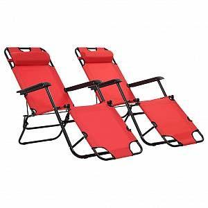VidaXL Chaises longues pliables 2 pcs avec repose-pied Rouge