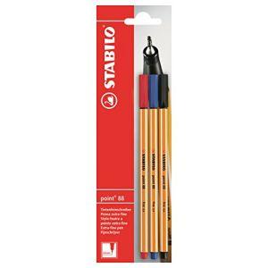 Stabilo Point 88 - Lot de 3 stylo feutres bleu