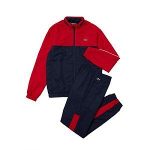 Lacoste Ensemble de survêtement Tennis Sport bicolore à capuche Taille 3XL Bleu Marine/rouge/blanc