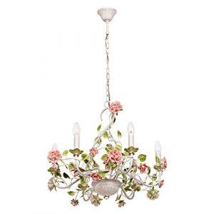 MW-Light 421013806 Lustre Suspension à 6 Lampes Bougies Style Floral en Métal Blanc Doré décoré de Fleurs en Porcelaine Colorée pour Salon Chambre à Coucher 6x40W E14