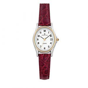 Certus Montre 645325 - Dateur Boîtier Acier Bracelet Cuir Rouge Femme