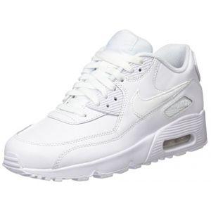 Nike Air Max 90 Leather (GS), Baskets Garçon, Blanc (White/White), 38 EU
