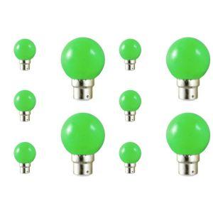 Vision-El Lot de 10 ampoules led B22 pour guirlande lumineuse (7 couleurs d'éclairage) - Couleur eclairage - Vert