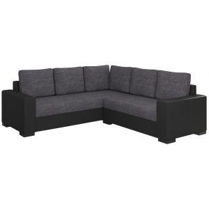 Comforium Canapé d'angle convertible 3 places en tissu gris :et cuir synthétique noir avec coffre méridienne réversible