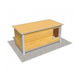 Difac Niche en bois isolée avec toit plat pour chien Maxi - 160 x 75 x 75 cm