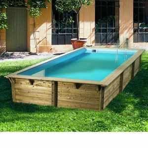 Ubbink Sunwater 300x555x140 cm - Piscine octogonale en bois liner bleu