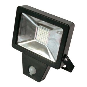 Fox Light - Projecteur plat SMD à détection infrarouge 20W 1400 Lm 6500K IP44 Coloris noir