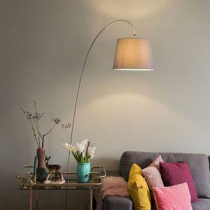 Qazqa Moderne Lampadaire / Lampe de sol / Lampe sur Pied / Luminaire / Lumiere / Éclairage Bend avec capot gris Métal /Pierre/béton Gris,Crème Oblongue / intérieur / Salon