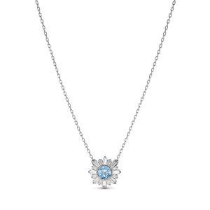 Swarovski COLLIER 5536742 - Collier Métal Argenté Cristal Bleu et Blanc Femme