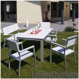 DCB Garden Table de jardin rectangulaire en aluminium et composite 170 x 85 x 74 cm