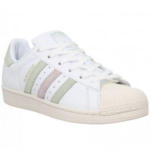 Adidas Superstar W, Sneakers Basses Femme, Blanc (Ftwwht/Lingrn/Ice Pur), 38 EU