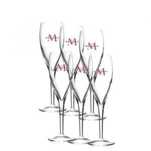 VERRERIE DE LA MARNE 6 flûtes à champagne Rubis 14 cl