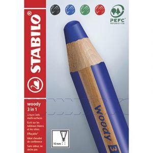 Stabilo Crayons multi-talents woody 3in1 - noir/bleu/rouge/vert - etui en carton de 4