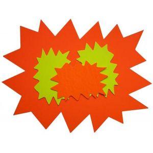 APLI 14925 - Lot de 25 étiquettes carton 780 g/m², forme éclaté 24x32, coloris jaune/orange fluo