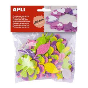 APLI Formes adhésives Fleurs pailletées en Feuille de mousse - 48 pcs