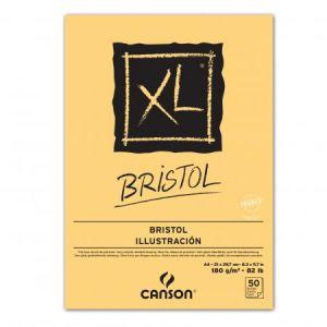 Canson 400039172 - Bloc 50 feuilles XL Bristol (collées 1 côté) A4 180g/m², très lisse blanc