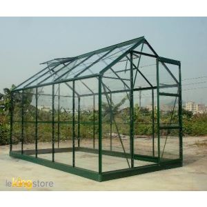 Chalet et Jardin Serre de jardin 106 en verre trempé 4 mm 5,77 m2 avec base d'ancrage