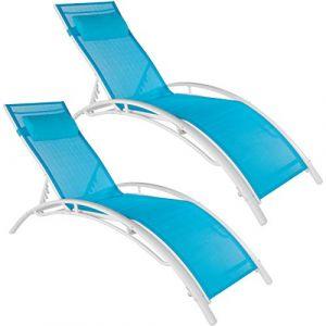TecTake 2 Bains de soleil confortables jardin et piscine inclinables sur 5 positions en Aluminium Bleu