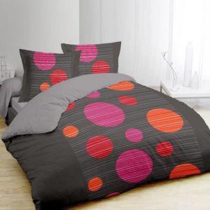 Vision Boules - Housse de couette et 2 taies 100% coton 57 fils (240 x 260 cm)