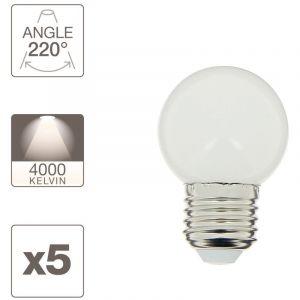 Xanlite Pack de 5 ampoules E27 (lumière naturelle) pour guirlande extérieure personnalisable - conso 1,2W