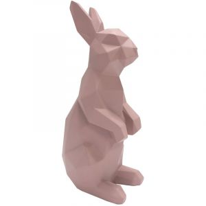 Present time Statue lapin debout rose ORIGAMI
