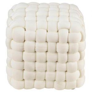 Pouf carré en tissus tressé Cotan beige 27x27 cm
