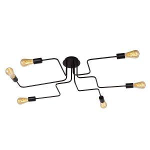 Lucide LESTER-Plafonnier en métal 6 lumières L100cm Noir