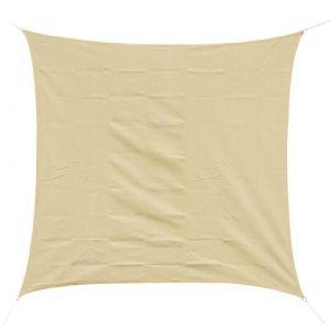 Outsunny Voile d'ombrage carré 3 x 3 m polyéthylène haute densité résistant aux UV coloris sable neuf 32
