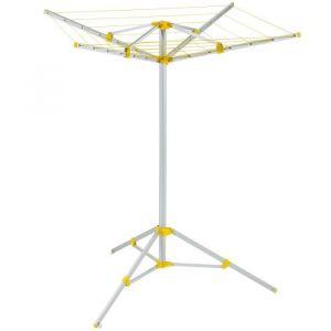 Trigano Etendoir A Linge - Etendoir à linge, blanc, aluminium, ajustable en hauteur avec vis de réglage en plastique, 4 bras, se piquette au sol, 158 x 158 x 143 cm, 2,3 kg.