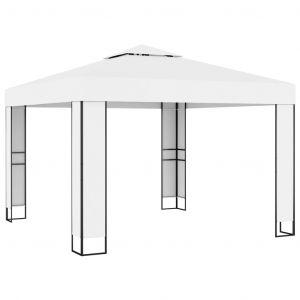 VidaXL Tonnelle avec toit double 3x3 m Crème
