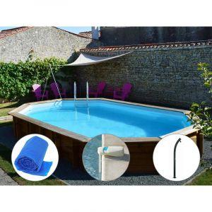 Sunbay Kit piscine bois Safran 6,37 x 4,12 x 1,33 m + Bâche à bulles + Alarme + Douche