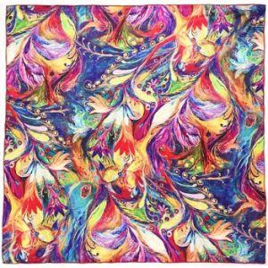 Allée du foulard Carré de soie Premium Plumes de Paon