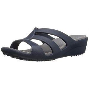 Crocs Sanrah Strappy Wedge, Sandales Bout Ouvert Femme, Bleu (Navy/Smoke) 39/40 EU