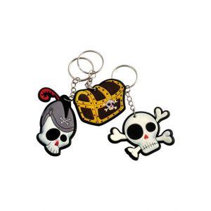 Porte clés pirate Tête de mort ( lot de 12 )