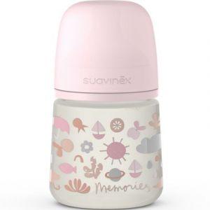 Suavinex Biberon avec tétine symétrique SX PRO S Memories rose (150 ml)