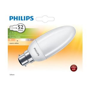 Philips 929689663502 - Ampoule Fluo-compacte Flamme Lisse Culot B22 12 Watts consommés (Equivalence incandescence 52W)