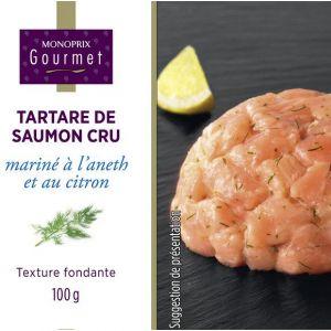 Monoprix gourmet Tartare de saumon cru mariné à l'aneth et au citron - La boîte de 100g