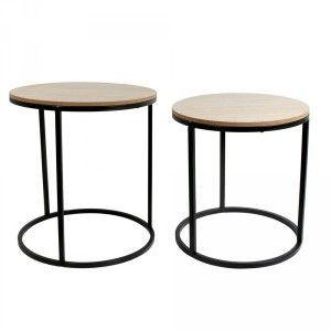 The home deco factory Tables assorties rondes bois et métal design (Lot de 2)