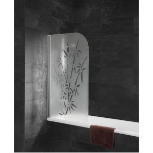 Schulte-ufer Pare-baignoire Capri paroi de baignoire 80 x 140 cm écran de baignoire 1 volet profilés aspect chromé Schulte décor bamboo