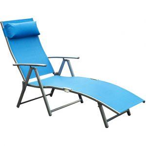 Outsunny Transat Chaise Longue Bain de Soleil Pliable Dossier inclinable Multi-Positions têtière fournie 137L x 64l x 101H cm métal époxy textilène Bleu