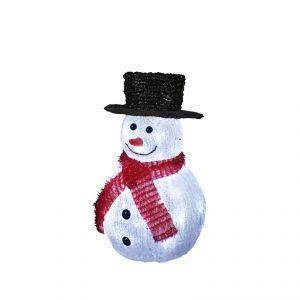 Bonhomme de neige lumineux 32 LED avec chapeau noir (22.5 cm)
