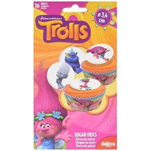16 mini disques en sucre Trolls